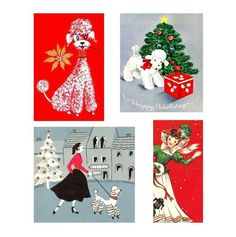 Digital Images Vintage Christmas Poodles