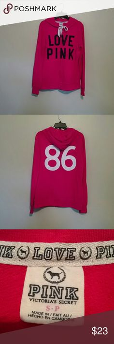 Victoria Secret Pink zip up hoodie Hot pink zip up hoodie from Victoria Secret Pink. Longer tunic length. Love Pink on the front . The number 86 on the back. Sz small Victoria's Secret Tops Sweatshirts & Hoodies