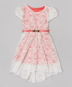 White & Coral Lace Overlay Belted Dress - Girls