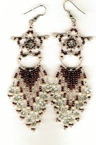 """Starflake"" Earrings   Beginner through advanced design. Easy and fast, but beautiful!  Pattern includes step-by-step diagrams and instructions, finished earrings picture, suggested beads, suggested dangles.  Project Type: Bead Stitch: Netting Variation"