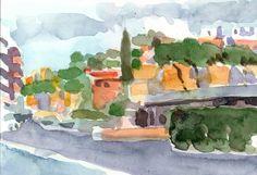 Anthony Lombardi  piazza Conca d'Oro Roma  watercolour on paper 2014 18 x 12,5 cm