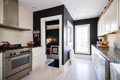 black paint in galley kitchen | www.j-jorgensen.com |