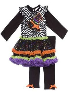 Rare Editions - Girls Zebra and Witch Hat Tutu Legging Set 9 months. Little girls halloween two piece set is sure to be a favorite for Halloween season. The top is zebra print cotton knit has black long sleeves with attached capped short sleeves. The top features a witch hat applique and a tutu hem of orange purple and green with all over star glitter. Matching black leggings complete this look.