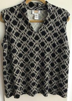 ad023e21f9bd8 Talbots Womans Plus1X Black Sleeveless Blouse w  Ivory Chain Link Print  Career  Talbots
