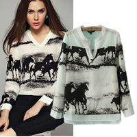 2016 Spring new arrival women fashion ink horse gallops print blouse, female casual V-neck long sleeve faux silk chiffon shirt