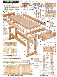 Workbench Plan - Workshop Solutions Projects, Tips and Tricks - Woodwork, Woodworking, Woodworking Plans, Woodworking Projects Woodworking Furniture Plans, Woodworking Projects That Sell, Woodworking Workbench, Woodworking Shop, Woodworking Crafts, Workbench Ideas, Woodworking Techniques, Garage Workbench, Workbench Organization