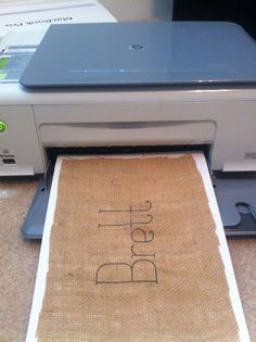 Printing on Burlap--this would be so cute behind the head table with Mr & Mrs on it