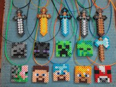 Minecraft Inspired 15 Hand Made Birthday Party Favor necklaces perler beads by 8BitBeader
