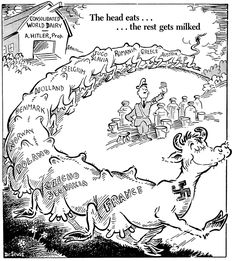 Seuss was considered a cartoonist legend. Here is a cartoon he drew during WWII, depicting how Hitler was taking control of Europe. Nagasaki, Hiroshima, Fukushima, History Memes, Us History, Oral History, Theodor Seuss Geisel, World History Teaching, Vietnam
