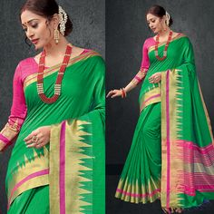 7145c78c9e7d5 Shop Refreshing Green-Pink printed raw silk saree from Indias best online  shopping site offering latest collection at cheap prices with cash on  delivery.