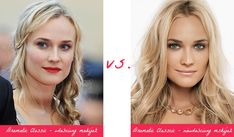Diane Kruger - best makeup for Dramatic Classic (left) vs. wrong makeup. Typ urody Dramatic Classic – Miss Elegancji