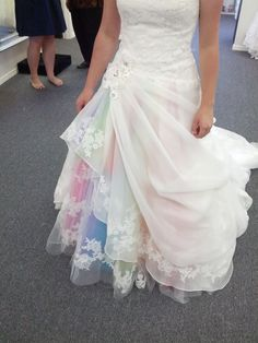 30 Gorgeous Rainbow Colored Dress DesignsIt is fashionable for girls to wear a gorgeous and colorful dress. From rainbow wedding dress, rainbow crochet Skirt, rainbow patchwork Skirt to recyc. 2016 Wedding Dresses, Colored Wedding Dresses, Wedding Colors, Wedding Gowns, Asking Bridesmaids, Wedding Bridesmaids, Bridesmaid Dresses, Bridesmaid Proposal, Rainbow Colored Dresses