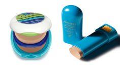 Shiseido UV Protective Compact Foundation For Face SPF 36, shiseido.com, Limited Edition Sun Protection Compact Foundation Case—1970s, shiseido.com, and Sun Protection Stick  SPF 37