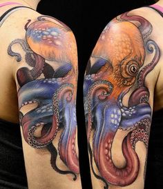 Octopus half sleeve- Katsu: Wild Monkey Tattoo in Hiroshima JP – Octopus Tattoo Octopus Thigh Tattoos, Octopus Tattoo Sleeve, Octopus Tattoo Design, Tattoo Designs, Leg Tattoos, Body Art Tattoos, Tattoos For Guys, Tattoos Pics, Tatoos
