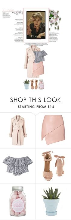 """Xiumin [ EXO ]"" by mochiyeol ❤ liked on Polyvore featuring Kerr®, Miss Selfridge, Michelle Mason, Aquazzura, Chive, skirt, coat, EXO, xiumin and ruffledtops"