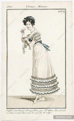 Le Journal des Dames et des Modes 1820 Costume Parisien N°1872