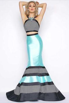 Cassandra Stone - 65913A  Two Sleeve Long Prom Dress    (Two-Piece, Jewels, HoundåÕs Tooth Embellishment, Cutaway Back, Print, Color Block, Mermaid Skirt, Sweep Train)