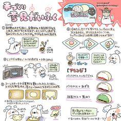 BVAqpy6CMAAXcjC Japanese Snacks, Japanese Sweets, Japanese Food, Sweets Recipes, Cooking Recipes, Desserts, Kawaii Cooking, Recipe Drawing, Japanese Wagashi