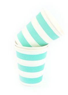 Candy Stripe Paper Cups - Blue