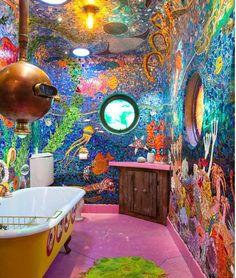 """Gaudi Submarine"" bathroom - San Francisco, CA - Eclectic - Bathroom - san francisco - by Anthony Lindsey Photography Yellow Submarine, Small Space Interior Design, Interior Design Living Room, Underwater Theme, Eclectic Bathroom, Antoni Gaudi, Bathroom Kids, Octopus Bathroom, Design Bathroom"