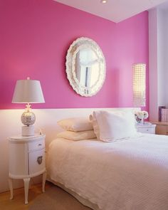 """Love this idea - just paint a """"headboard"""" onto a wall."""