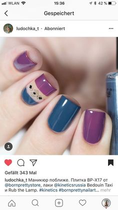 Trendy nails design purple and silver パープルネイルのアイデア Purple Nail Designs, Nail Art Designs, Nails Design, Pretty Nail Art, Nagel Gel, Stylish Nails, Blue Nails, Perfect Nails, Simple Nails