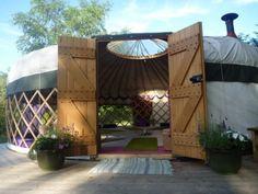 yurt with barn doors