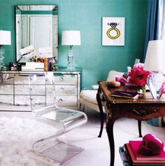 i must confess: my two favorite colors, peony pink and turquoise, are coincidentally the two colors i think pop a room's details the best.