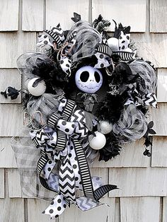 Nightmare Before Christmas Wreath for The Door XL Jack Skellington Black White | eBay