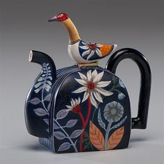 View Mexican Inspired Bird Teapot by Annette Corcoran on artnet. Browse upcoming and past auction lots by Annette Corcoran. Teapots And Cups, Ceramic Teapots, Ceramic Pottery, Kintsugi, Teapots Unique, My Cup Of Tea, Tea Service, Chocolate Pots, Coffee Set