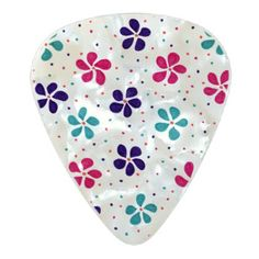 Flowers and Dots Pattern Pearl Celluloid Guitar Pick - drawing sketch design graphic draw personalize