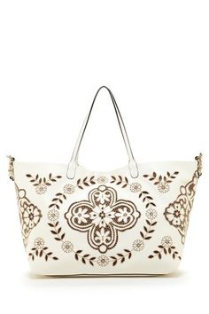 Valentino Leather Embroidered Large Tote