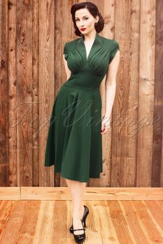 Miss Candyfloss - TopVintage exclusive ~ 50s Odette Green swing dress
