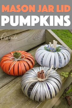 Outstanding mason jar detail are offered on our site. look at th s and you wont be sorry you did. Canning Lid Pumpkin, Canning Lids, Mason Jar Lids, Jar Lid Crafts, Mason Jar Crafts, Mason Jar Flowers, Diy Flowers, Diy Hanging Shelves, Diy Pumpkin