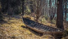 Abandoned boat at the woods.