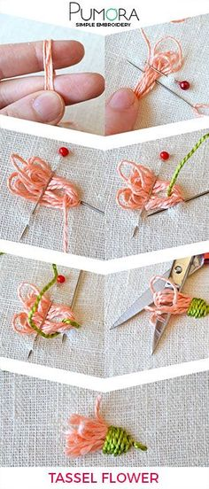 Blumen Sticken: Quasten Blume Tutorial Flower Embroidery: Tassels Flower Tutorial The post Flower Embroidery: Tassels Flower Tutorial appeared first on Embroidery and Stitching. Embroidery Designs, Embroidery Stitches Tutorial, Embroidery Techniques, Knitting Stitches, Embroidery Supplies, Flower Embroidery Stitches, Custom Embroidery, Silk Ribbon Embroidery, Crewel Embroidery