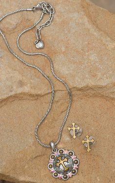 M&F Western Products® Silver Concho with Gold Cross & Crystals Necklace and Earrings Jewelry Set 29609
