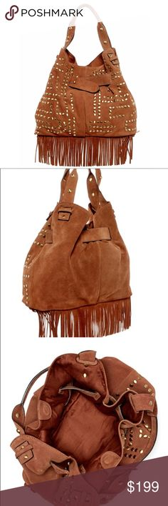"""🆕New Arrival Sam Edelman Emily Suede Bucket Tote NWT Sam Edelman Emily Suede Bucket Tote with Dual rolled top handles. Open top with magnetic closure, Exterior features adjustable strap, studded detail and fringe trim, Interior features 1 slip wall pocket and 1 zip wall pocket - Approx. 11.5"""" H x 15.5"""" W x 6.25"""" D - Approx. 8"""" handle drop - Suede exterior, textile lining Sam Edelman Bags Totes"""