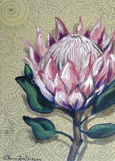 Protea painting by Cherie Roe Dirksen Protea Art, Protea Flower, Acrylic Art, Acrylic Painting Canvas, Fabric Painting, Art And Illustration, Art Floral, Oil Pastel Paintings, Flower Paintings