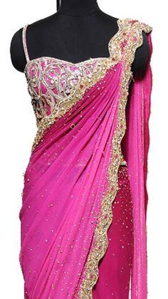 Scallop Border Magenta Saree | Strandofsilk.com - Indian Designers