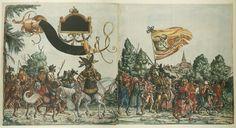 Artist: various, Title: »Triumphzug Kaiser Maximilians« Blatt 89-90, Date: 1526, Note: colouring done in 1765 by Josef Hoeger