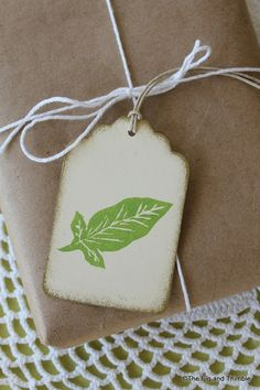 Mallorn Leaf Tags - Handstamped Set of Eight  from hand carved stamp -Hobbit Tolkien Lord of the Rings LOTR on Etsy, £2.14