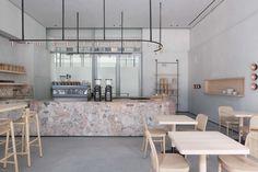 Coffee Shop/Delicatessen, Hospitality Designs: The Espresso Lab, Dubai Design District - Love That Design Coffee Shop Design, Cafe Design, Design Design, Interior Design Dubai, Interior Architecture, Cafe Restaurant, Restaurant Design, Modern Restaurant, Espresso
