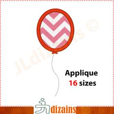 Single Balloon applique design. Machine embroidery design - INSTANT DOWNLOAD - 16 sizes by JLdizains on Etsy