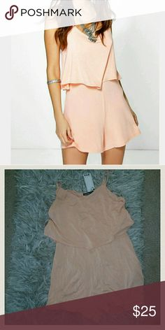 NWT Peachy Overlay Playsuit Size 6 Romper Summer Perfect for summer Lightweight Boohoo Shorts
