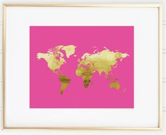 Faux gold world map art stripes travel decor wanderlust wall hot pink or black faux gold world map wall decor office decor trendy wall art gallery wall home decor gumiabroncs Gallery