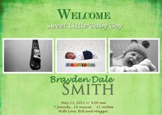 Printable Green Baby Boy Birth Announcement by ThePhotoMommy, $10.00