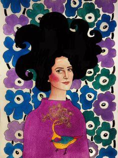 """don't ask questions you don't want to know"" by Hülya Özdemir Portrait Illustration, Watercolor Illustration, Graphic Illustration, Illustrations, Portrait Art, Portraits, Serpentina, Art Beat, Graffiti"