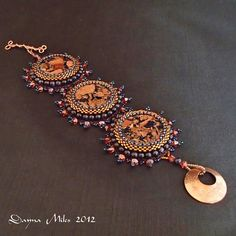 OOAK Bead Embroidery and Bead Woven Copper Navy by DealanDeDesigns, $72.00