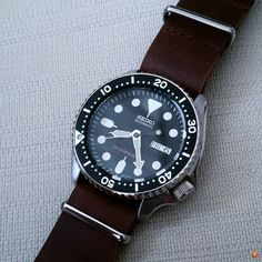 seiko skx blue insert leather - Google Search